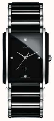 Rado Relógio de mostrador quadrado preto de alta tecnologia com diamantes integrais em cerâmica R20206712