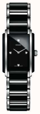 RADO Relógio de mostrador quadrado de cerâmica de alta tecnologia com diamantes integrais R20613712