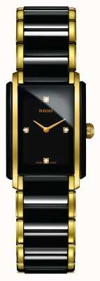 RADO Relógio de mostrador quadrado de cerâmica de alta tecnologia com diamantes integrais R20845712