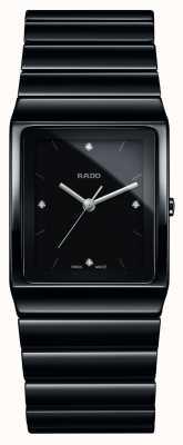 Rado Diamantes Ceramica mostrador quadrado relógio de pulseira de cerâmica R21700702
