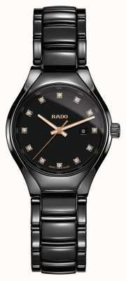 Rado Relógio de mostrador preto de cerâmica de alta tecnologia com diamantes verdadeiros do plasma R27059732
