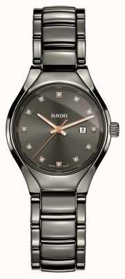 Rado Relógio de mostrador cinza de cerâmica de alta tecnologia com diamantes verdadeiros de plasma R27060732