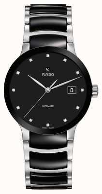 RADO Relógio automático de cerâmica preta de diamantes Centrix R30941752