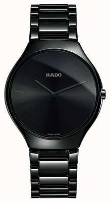Rado Relógio fino de alta tecnologia com mostrador preto cerâmico de alta tecnologia R27741182
