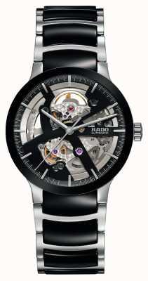 Rado Relógio automático de cerâmica preta de coração aberto Centrix R30178152