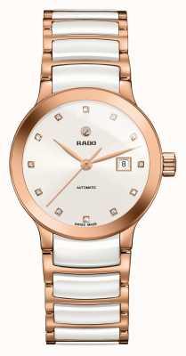 RADO Relógio automático de pulseira de cerâmica de diamantes Centrix R30183742