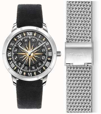 Thomas Sabo | relógio de sol feminino | cinta de veludo preto | discagem de sol 3d preto SET_WA0351-217-203-33