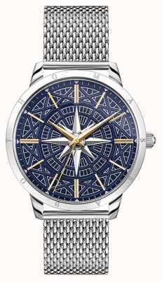 Thomas Sabo | bússola do espírito rebelde dos homens | mostrador azul | pulseira de malha | WA0350-201-209-42