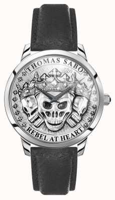 Thomas Sabo | espírito rebelde dos homens crânios 3d | pulseira de couro preto | WA0355-203-201-42