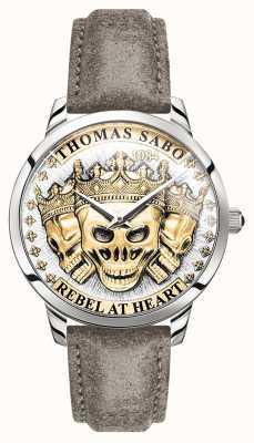 Thomas Sabo | espírito rebelde dos homens crânios 3d | mostrador de ouro | pulseira de couro | WA0356-273-207-42