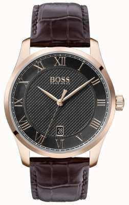 BOSS Mestre pulseira de couro marrom | mostrador cinza | 1513740