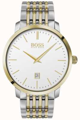 Boss | de homem | clássico premium | dois tons | mostrador prateado | 1513747