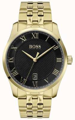 Boss | mestre dos homens | pulseira de ouro pvd | mostrador preto | 1513739