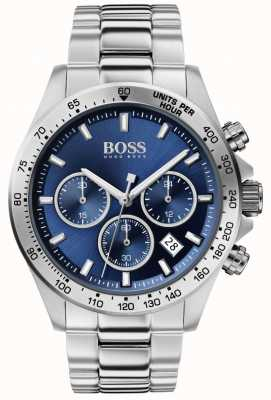 Boss | herói dos homens esporte lux | pulseira de aço | mostrador azul | 1513755