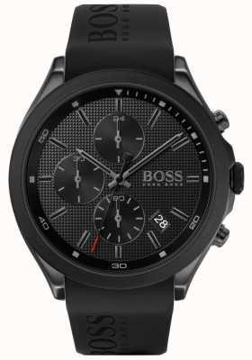 Boss | velocidade dos homens | pulseira de borracha preta | mostrador preto | 1513720