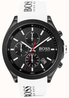 Boss | velocidade dos homens | pulseira de borracha branca | mostrador preto | 1513718
