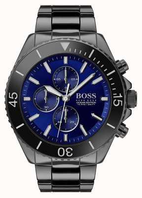 Boss | edição do oceano dos homens | aço inoxidável preto | mostrador azul | 1513743