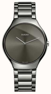 Rado Pulseira de cerâmica cinza fina verdadeira relógio de discagem cinza R27955122