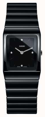 Rado Diamantes Ceramica mostrador quadrado relógio de pulseira de cerâmica preta R21702702