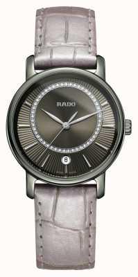 Rado Diamaster diamantes pulseira de couro cinza relógio mostrador cinza R14064715