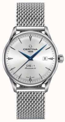 Certina | ds-1 powermatic 80 | pulseira de malha de prata | mostrador prateado | C0298071103102