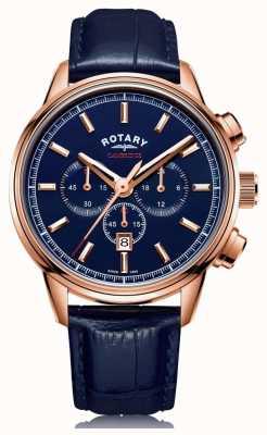Rotary | cronógrafo de cambridge para homem | mostrador azul | couro azul | GS05399/05