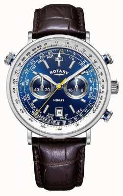Rotary | cronógrafo henley masculino | mostrador azul | pulseira de couro marrom GS05235/05