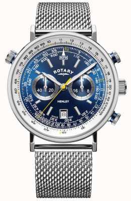 Rotary | cronógrafo henley masculino | pulseira em malha de aço | mostrador azul GB05235/05