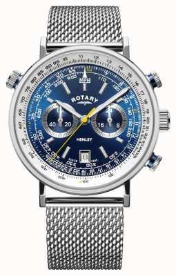 Rotary | cronógrafo de henley para homem | pulseira de malha de aço | mostrador azul GB05235/05