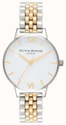 Olivia Burton | mulheres | dial midi | pulseira em dois tons | mostrador branco | OB16MDW34