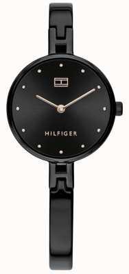 Tommy Hilfiger Kit pulseira em aço inoxidável ip preto | mostrador preto 1782136