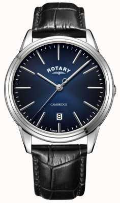 Rotary   cambridge dos homens   mostrador azul   pulseira de couro preto   GS05390/05
