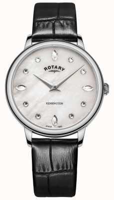 Rotary | kensington feminino | mostrador de cristal | couro preto LS05170/41