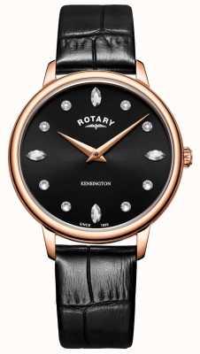 Rotary | kensington das mulheres | mostrador preto de cristal swarovski | LS05174/04
