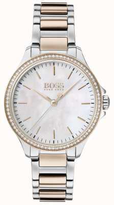 BOSS | diamantes para ela | pulseira de dois tons | madrepérola 1502524