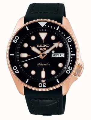 Seiko 5 esporte   especialista   automático   ouro rosa e preto SRPD76K1