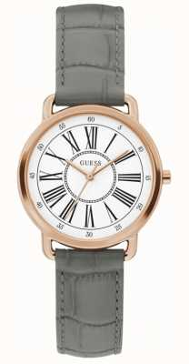 Guess | jackie para mulher | pulseira de couro cinza | mostrador branco | W1285L3