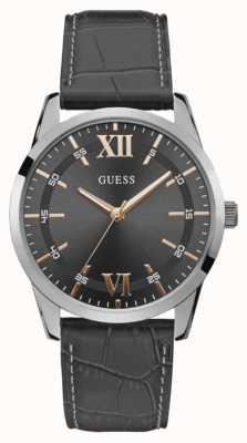 Guess | theo masculino | pulseira de couro preto | mostrador cinza | W1307G1