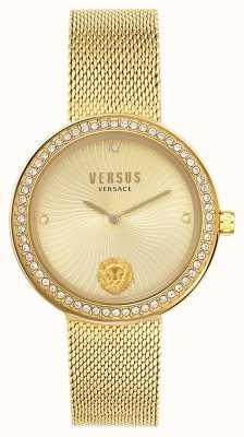 Versus Versace | léa para mulher | pulseira de malha de ouro | mostrador de ouro | VSPEN0819