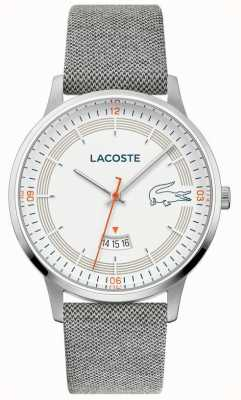 Lacoste | madrid masculino | pulseira de couro cinza | mostrador branco | 2011031
