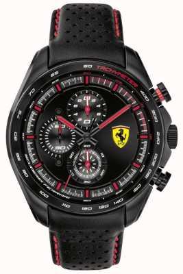 Scuderia Ferrari | piloto de velocidade masculino | pulseira de couro preto | mostrador preto | 0830647