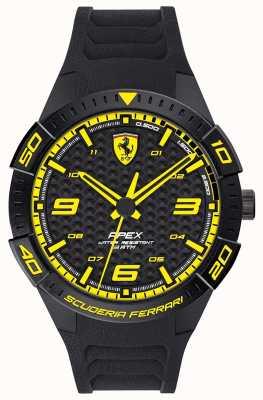 Scuderia Ferrari | ápice dos homens | pulseira de borracha preta | mostrador preto / amarelo | 0830663