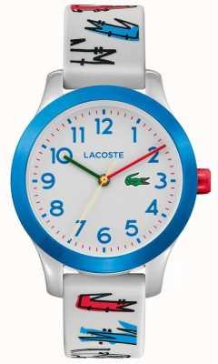 Lacoste 12,12 filhos | pulseira impressa em borracha branca | mostrador branco | 2030021