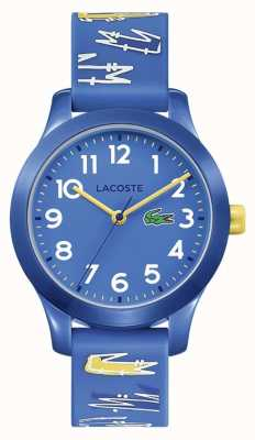 Lacoste 12,12 filhos | pulseira impressa em borracha azul | mostrador azul | 2030019