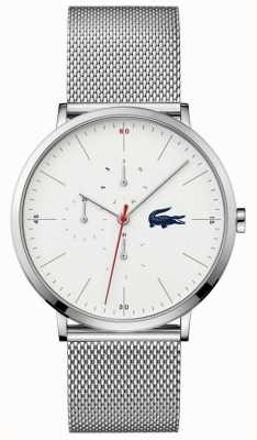 Lacoste | lua dos homens multi | pulseira de malha de aço inoxidável | mostrador branco | 2011025