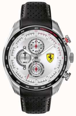 Scuderia Ferrari | piloto de velocidade masculino | pulseira de couro preto | mostrador prateado | 0830651