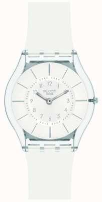 Swatch   pele clássica   relógio branco elegante   SFK360