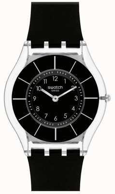 Swatch   pele clássica   relógio preto elegante   SFK361