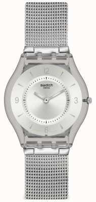 Swatch | pele clássica | relógio de malha de metal | SFM118M