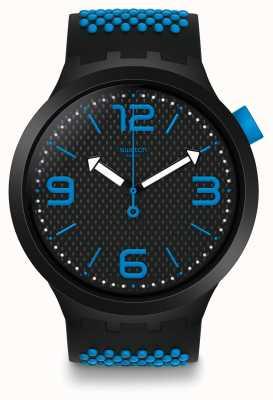 Swatch   grande negrito   relógio bbblue   SO27B101